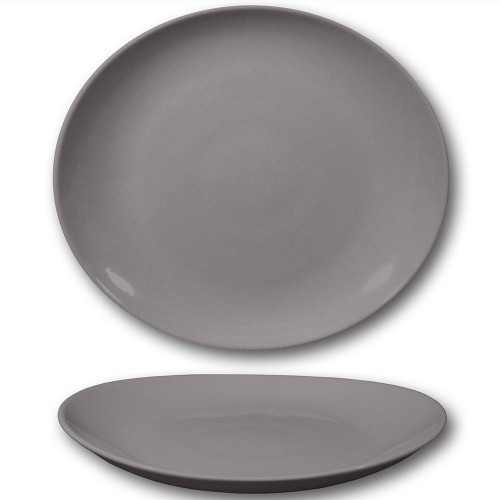 Assiette à steak porcelaine couleur gris - D 30,5 cm - Tivoli