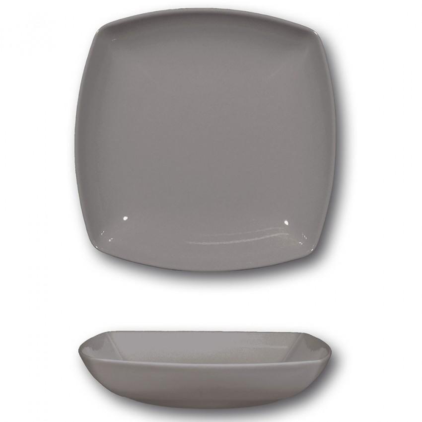 Lot de 6 assiettes creuses porcelaine italienne Gris - L 21 cm - Tokio