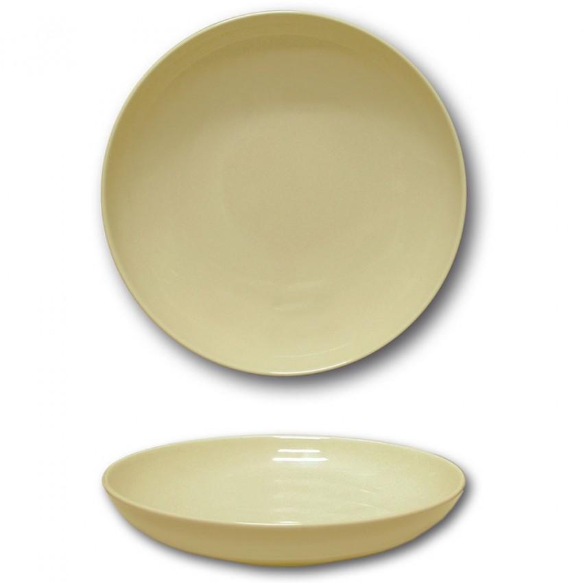Lot 6 assiettes creuses porcelaine couleur Crème - D 22 cm - Siviglia