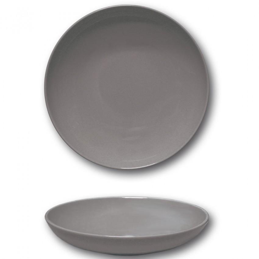 Lot de 6 assiettes creuses porcelaine Gris - D 22 cm - Siviglia