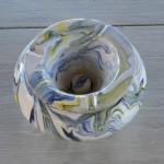 Cendrier anti fumée marbré blanc jaune et bleu - Très grand modèle