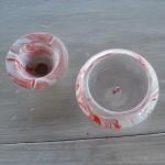 Cendrier anti fumée marbré rouge - Moyen modèle