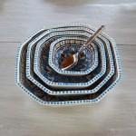 Plat octogonal Bakir turquoise - L 20 cm